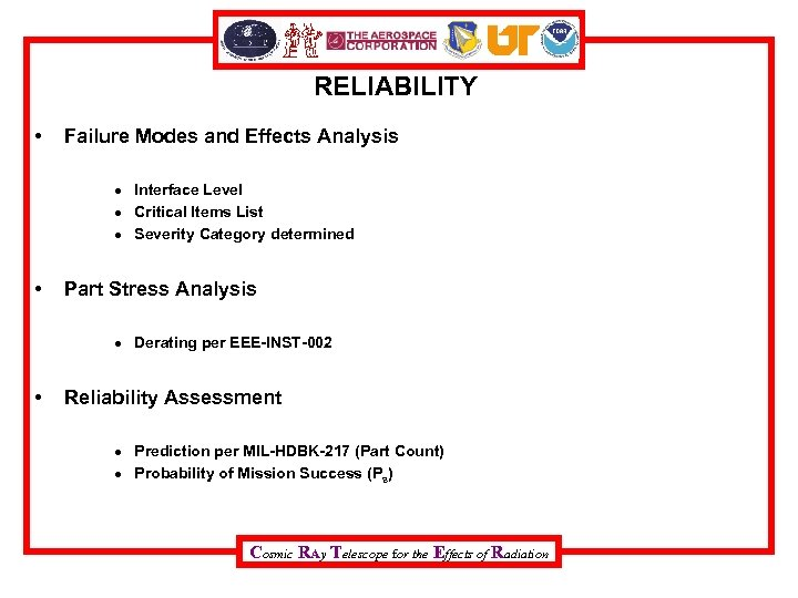 RELIABILITY • Failure Modes and Effects Analysis Interface Level Critical Items List Severity Category