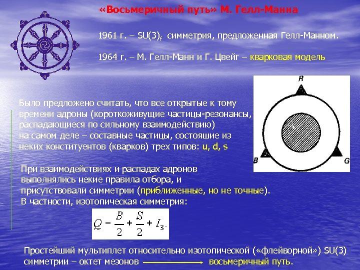 «Восьмеричный путь» М. Гелл-Манна 1961 г. – SU(3)f симметрия, предложенная Гелл-Манном. 1964 г.