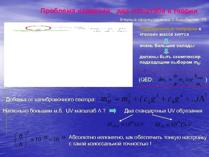 Проблема иерархий: два масштаба в теории Впервые сформулирована С. Вайнбергом ' 76 Радиационные поправки