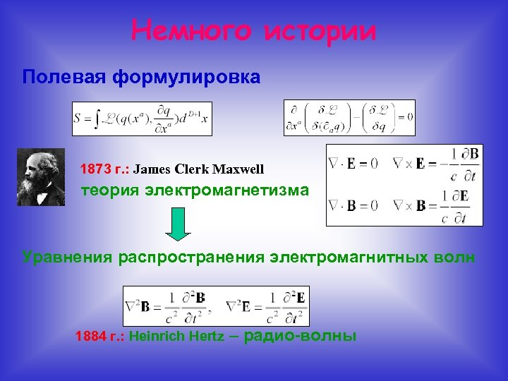 Немного истории Полевая формулировка • 1873 г. : James Clerk Maxwell теория электромагнетизма Уравнения