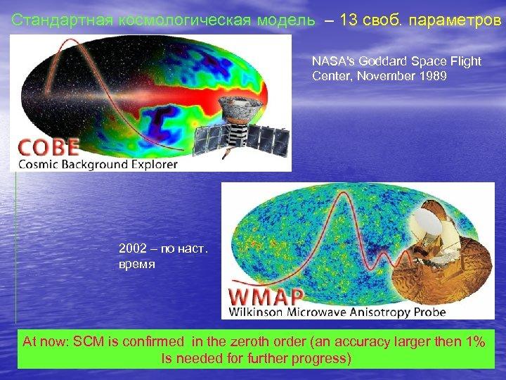 Стандартная космологическая модель – 13 своб. параметров NASA's Goddard Space Flight Center, November 1989