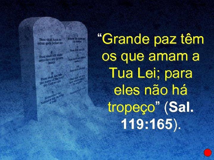 """""""Grande paz têm os que amam a Tua Lei; para eles não há tropeço"""""""