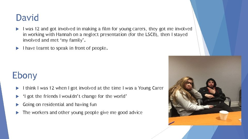 David I was 12 and got involved in making a film for young carers,