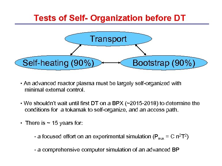 Tests of Self- Organization before DT Transport Self-heating (90%) Bootstrap (90%) • An advanced