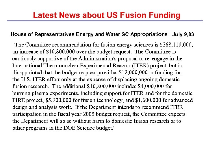 Latest News about US Fusion Funding House of Representatives Energy and Water SC Appropriations