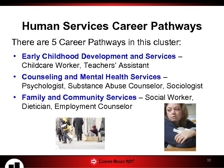 Human Services Career Pathways There are 5 Career Pathways in this cluster: • Early