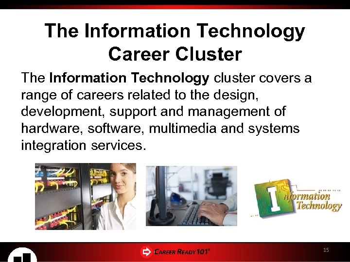 The Information Technology Career Cluster The Information Technology cluster covers a range of careers