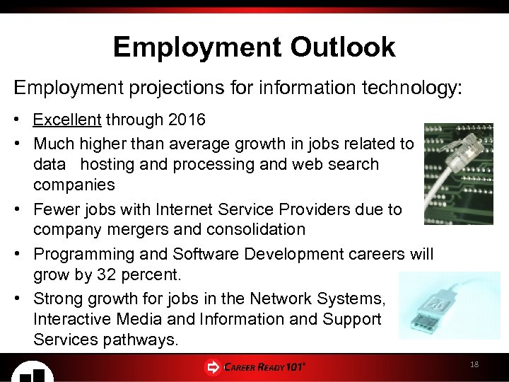 Employment Outlook Employment projections for information technology: • Excellent through 2016 • Much higher