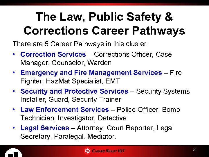 The Law, Public Safety & Corrections Career Pathways There are 5 Career Pathways in