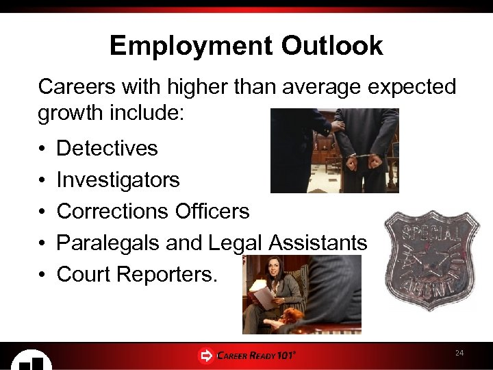 Employment Outlook Careers with higher than average expected growth include: • • • Detectives