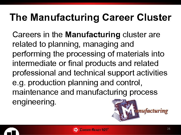 The Manufacturing Career Cluster Careers in the Manufacturing cluster are related to planning, managing