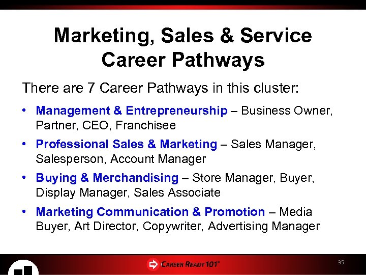 Marketing, Sales & Service Career Pathways There are 7 Career Pathways in this cluster: