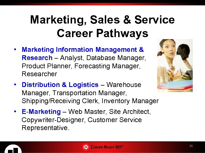 Marketing, Sales & Service Career Pathways • Marketing Information Management & Research – Analyst,