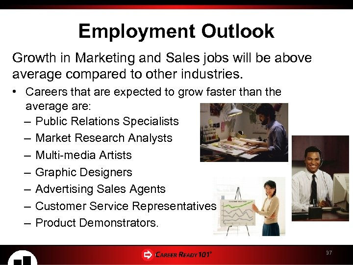 Employment Outlook Growth in Marketing and Sales jobs will be above average compared to