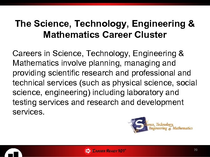 The Science, Technology, Engineering & Mathematics Career Cluster Careers in Science, Technology, Engineering &