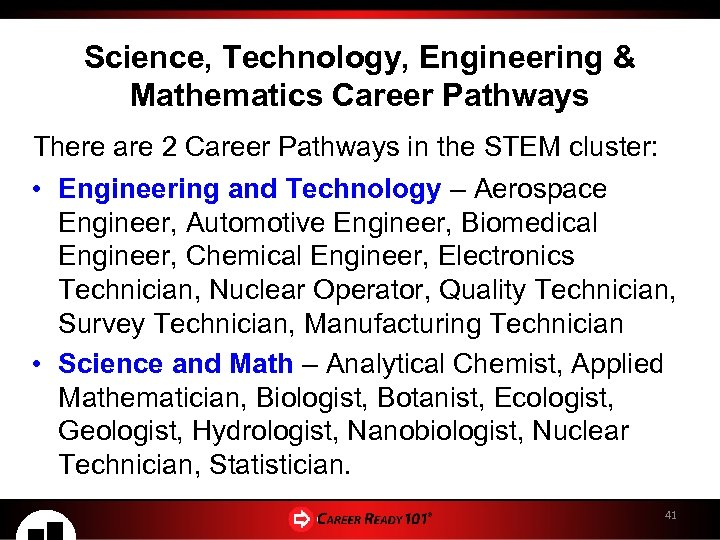 Science, Technology, Engineering & Mathematics Career Pathways There are 2 Career Pathways in the
