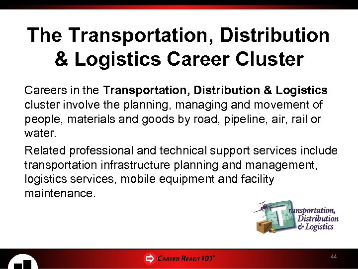 The Transportation, Distribution & Logistics Career Cluster Careers in the Transportation, Distribution & Logistics