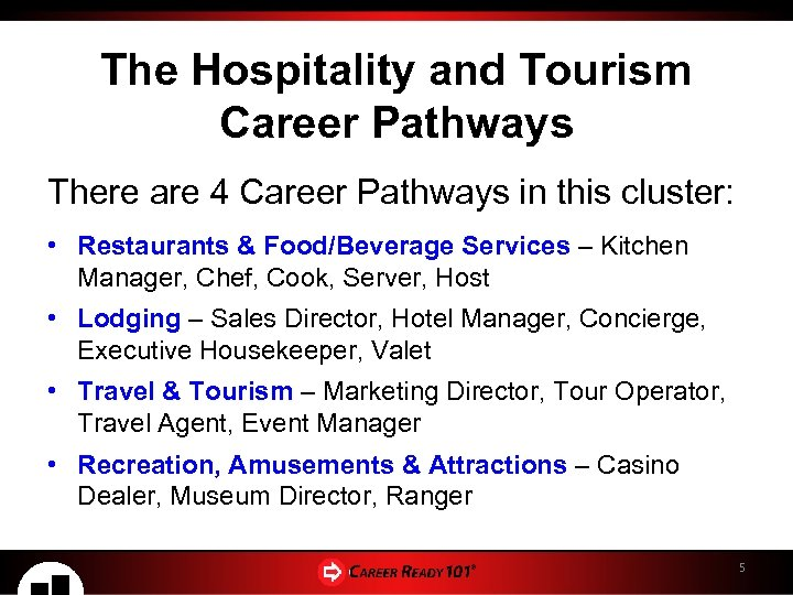 The Hospitality and Tourism Career Pathways There are 4 Career Pathways in this cluster: