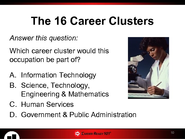 The 16 Career Clusters Answer this question: Which career cluster would this occupation be