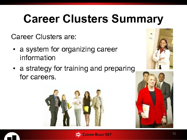 Career Clusters Summary Career Clusters are: • a system for organizing career information •
