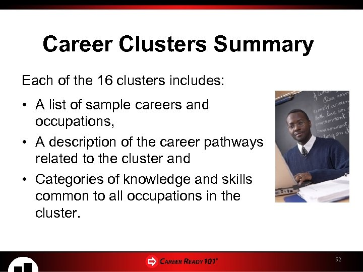 Career Clusters Summary Each of the 16 clusters includes: • A list of sample