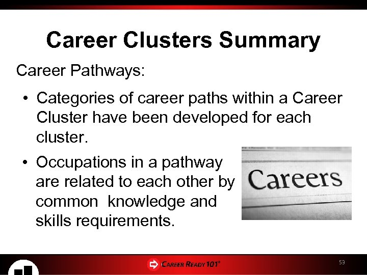 Career Clusters Summary Career Pathways: • Categories of career paths within a Career Cluster