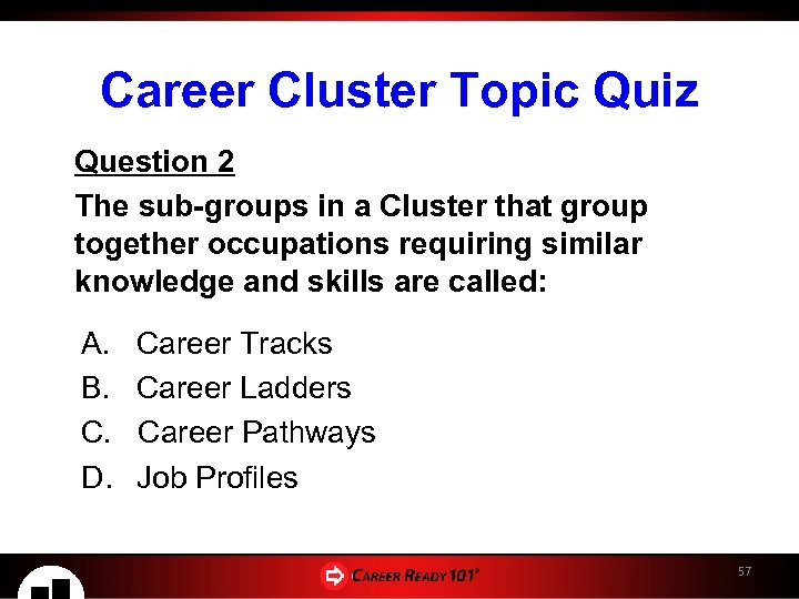 Career Cluster Topic Quiz Question 2 The sub-groups in a Cluster that group together