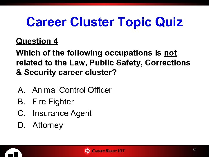 Career Cluster Topic Quiz Question 4 Which of the following occupations is not related