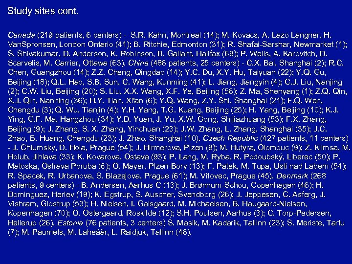 Study sites cont. Canada (219 patients, 6 centers) - S. R. Kahn, Montreal (14);