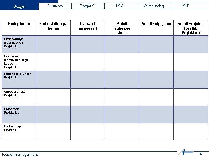 Budgetarten Fixkosten Fertigstellungstermin Target C Planwert insgesamt LCC Anteil laufendes Jahr Outsourcing Anteil Folgejahre