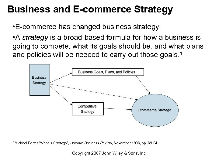 Business and E-commerce Strategy • E-commerce has changed business strategy. • A strategy is