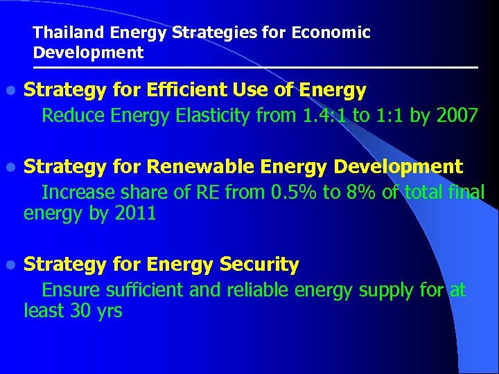 Thailand Energy Strategies for Economic Development l Strategy for Efficient Use of Energy Reduce
