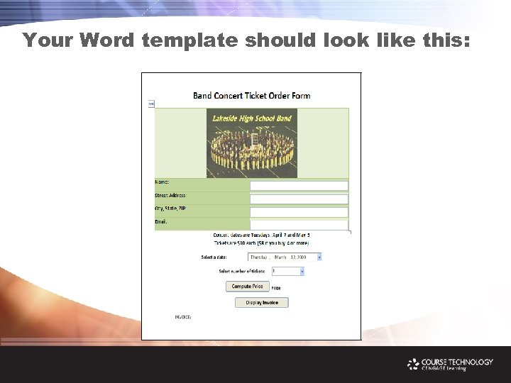 Your Word template should look like this: