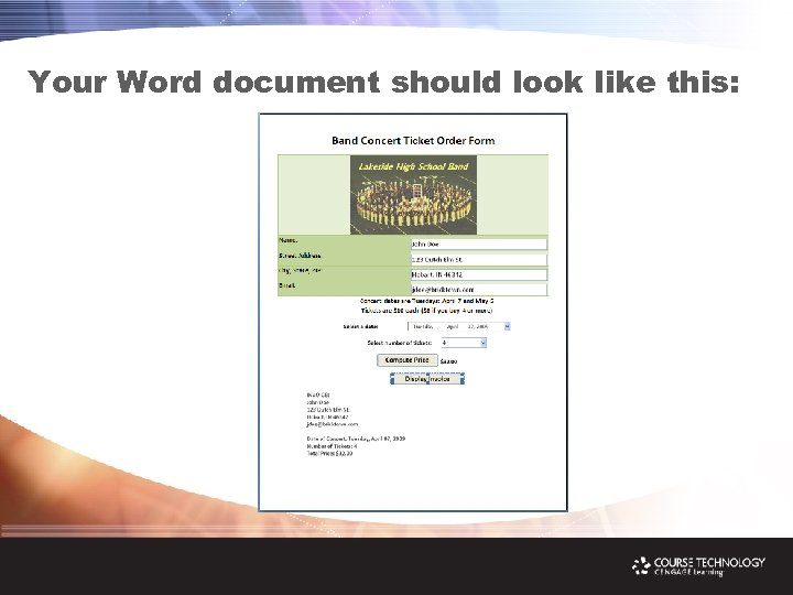 Your Word document should look like this:
