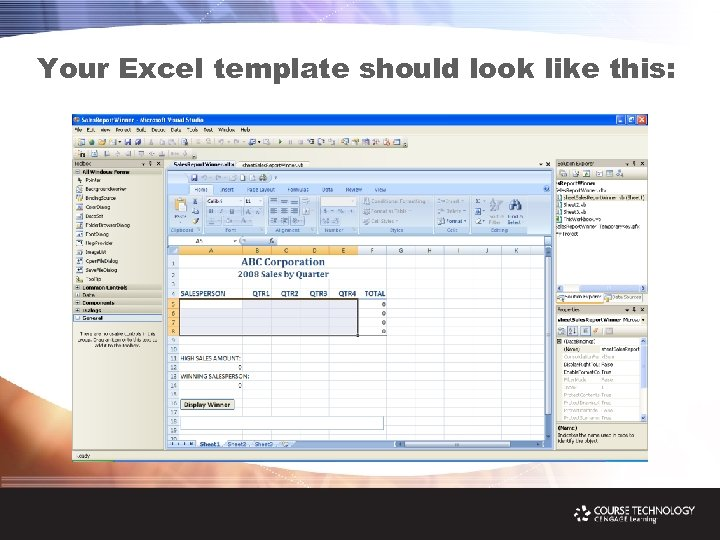 Your Excel template should look like this: