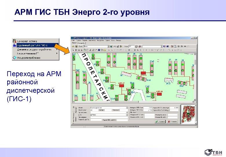 АРМ ГИС ТБН Энерго 2 -го уровня Переход на АРМ районной диспетчерской (ГИС 1)