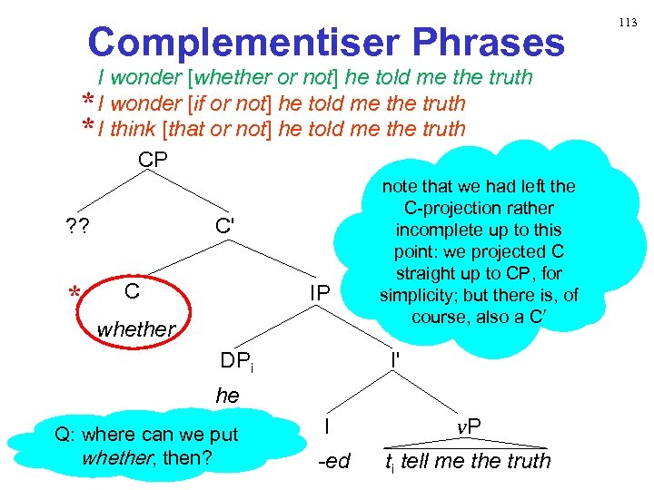 Complementiser Phrases I wonder [whether or not] he told me the truth * I