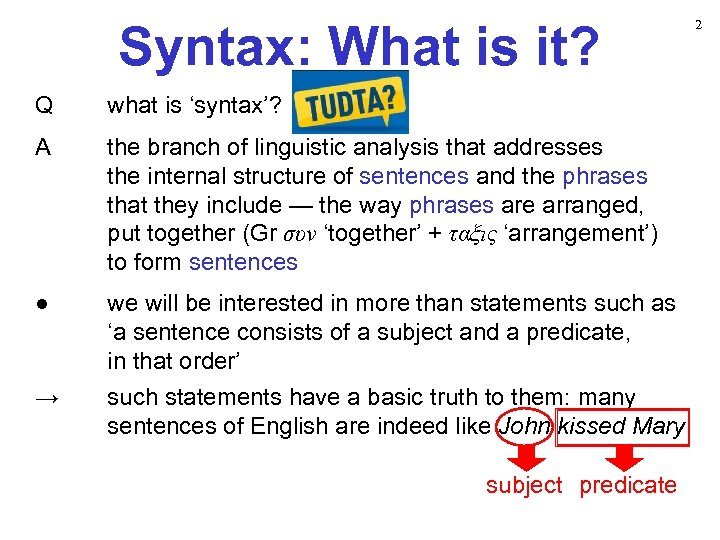 Syntax: What is it? Q what is 'syntax'? A the branch of linguistic analysis