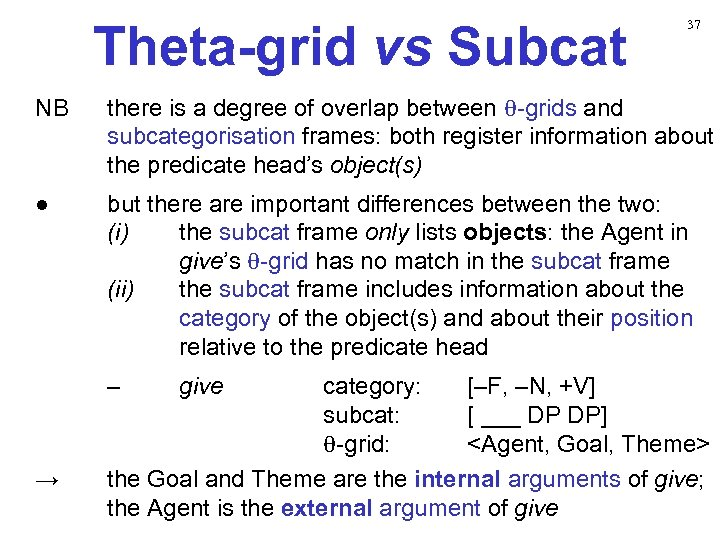 Theta-grid vs Subcat 37 NB there is a degree of overlap between θ-grids and
