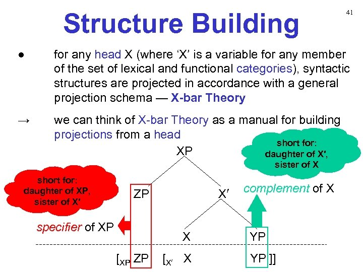 Structure Building 41 ● for any head X (where 'X' is a variable for