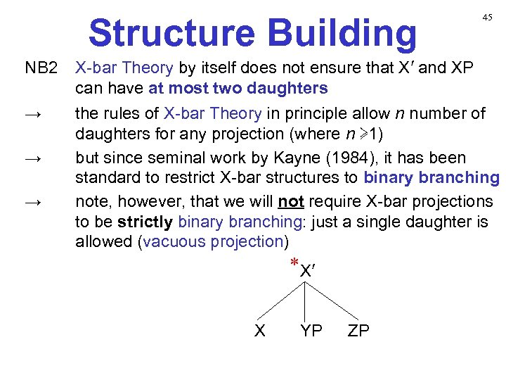 Structure Building 45 NB 2 X-bar Theory by itself does not ensure that X′