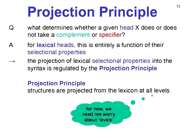 Projection Principle 52 Q what determines whether a given head X does or does
