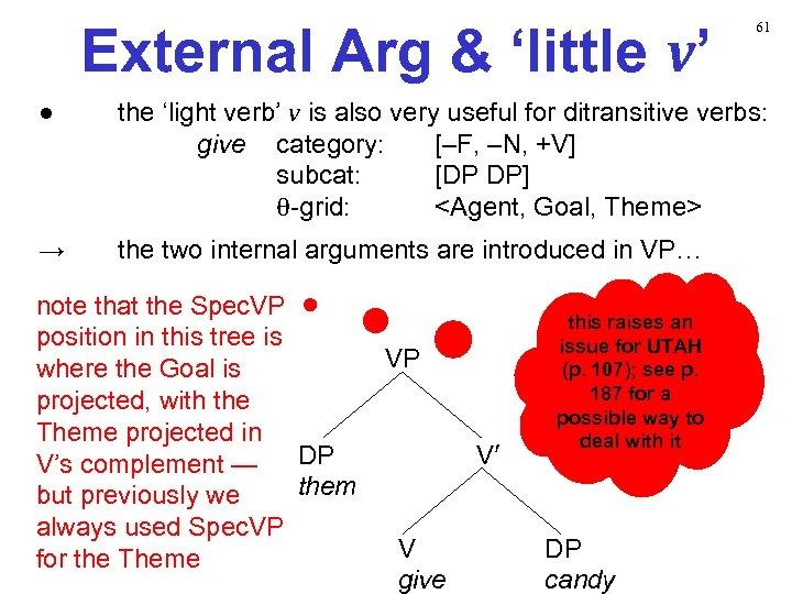 External Arg & 'little v' 61 ● the 'light verb' v is also very