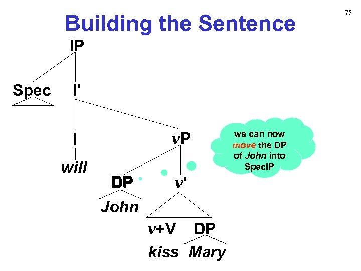 Building the Sentence IP Spec I' v. P I will DP v' John v+V