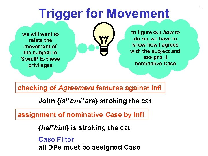 Trigger for Movement we will want to relate the movement of the subject to