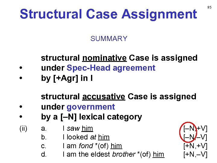 Structural Case Assignment 95 SUMMARY • • structural nominative Case is assigned under Spec-Head