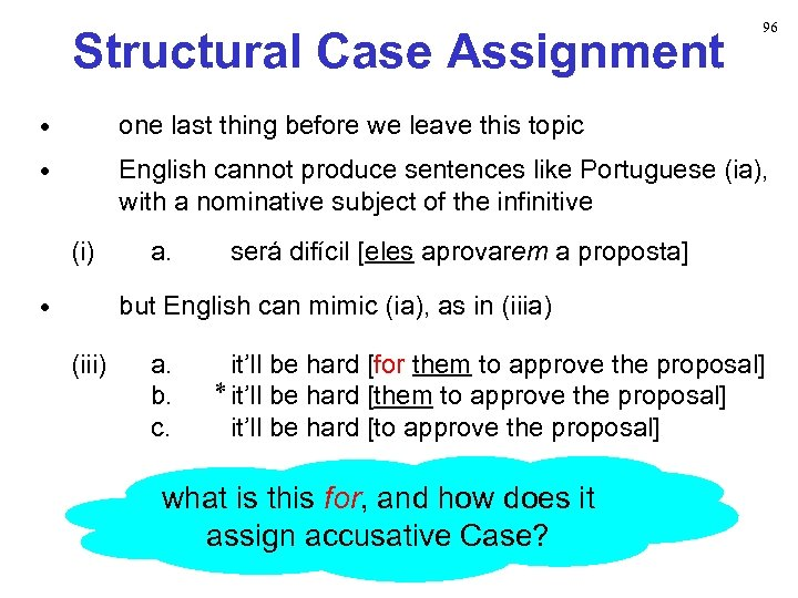 Structural Case Assignment 96 • one last thing before we leave this topic •