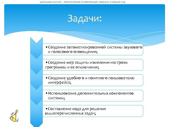 ШКОЛЬНАЯ НАУЧНО – ПРАКТИЧЕСКАЯ КОНФЕРЕНЦИЯ / 2009 -2010 УЧЕБНЫЙ ГОД Задачи: • Создание автоматизированной