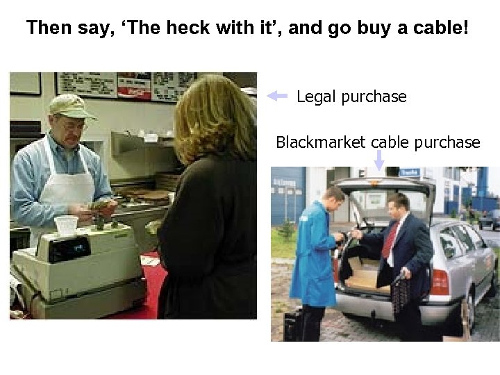 Then say, 'The heck with it', and go buy a cable! Legal purchase Blackmarket