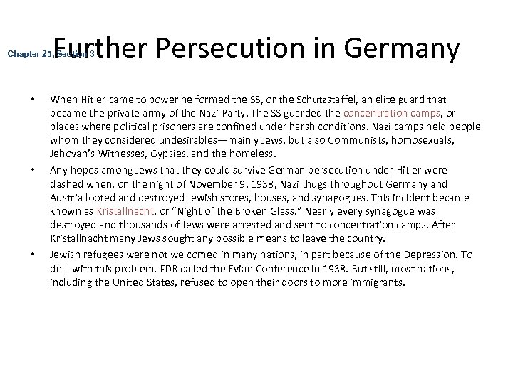 Further Persecution in Germany Chapter 25, Section 3 • • • When Hitler came